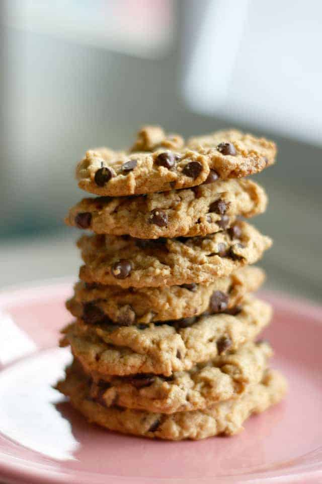 Peanut Butter Chocolate Chip Cookies Gluten Free Vegan The Pretty Bee