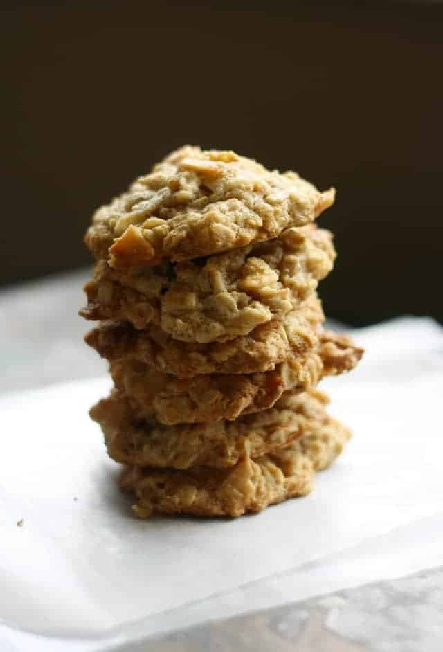 stack of toasted coconut oatmeal cookies