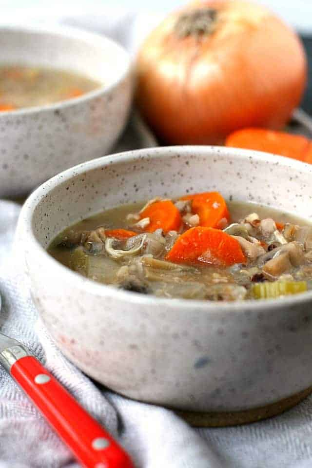 chicken wild rice soup in a white ceramic bowl