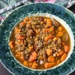 This sausage lentil soup is the perfect cozy recipe for a chilly day! Gluten free and allergy friendly soup recipe.