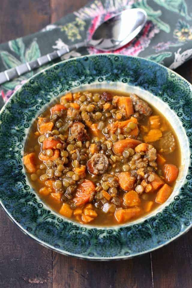 gluten free sausage lentil sweet potato soup