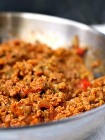 ground turkey sloppy joes in a pan