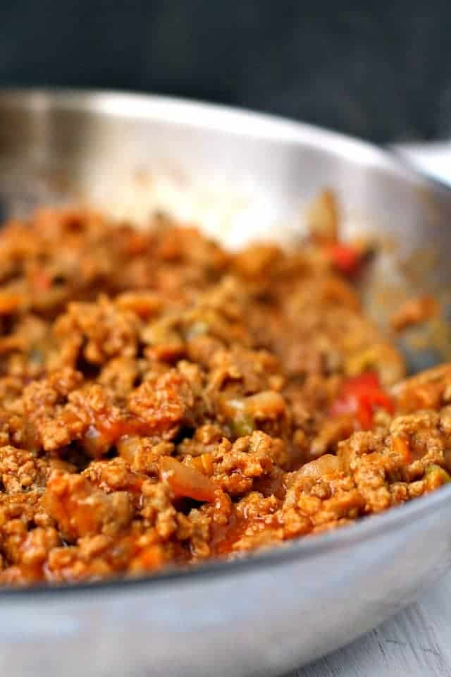 ground turkey sloppy joes in a pan