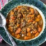 Sausage Lentil Sweet Potato Autumn Soup.