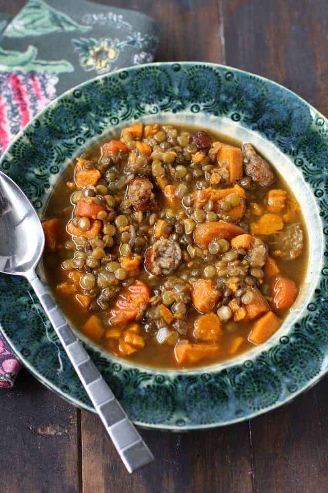 simple sausage lentil soup