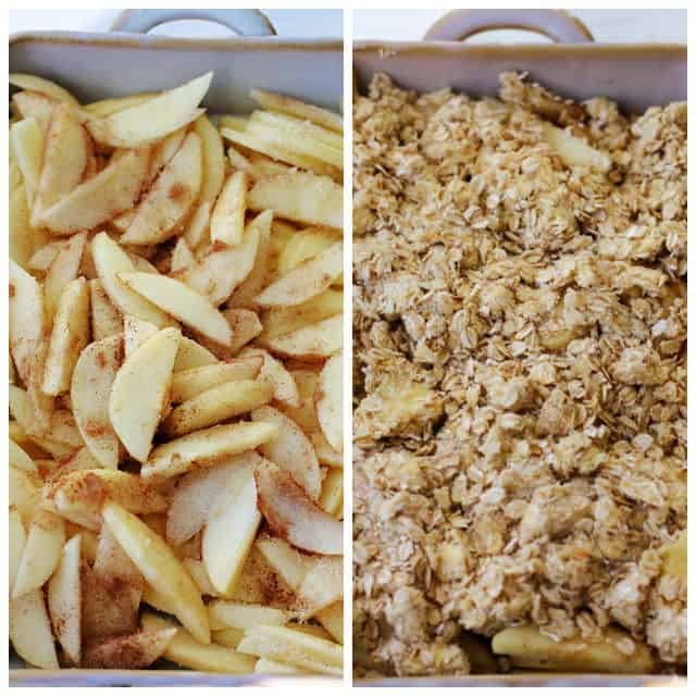 side by side of gluten free apple crisp with and without topping