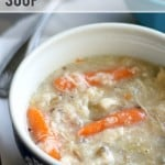 A hearty and healthy slow cooker recipe - chicken and wild rice soup. #slowcooker