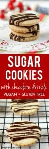 gluten free sugar cookies with chocolate drizzle