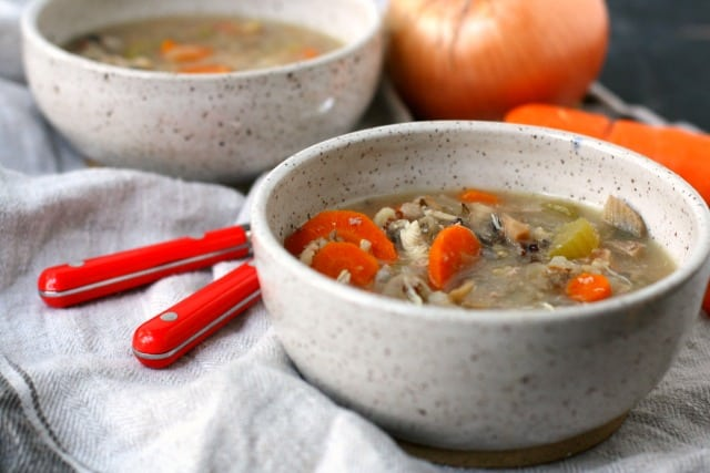 two bowls of wild rice soup
