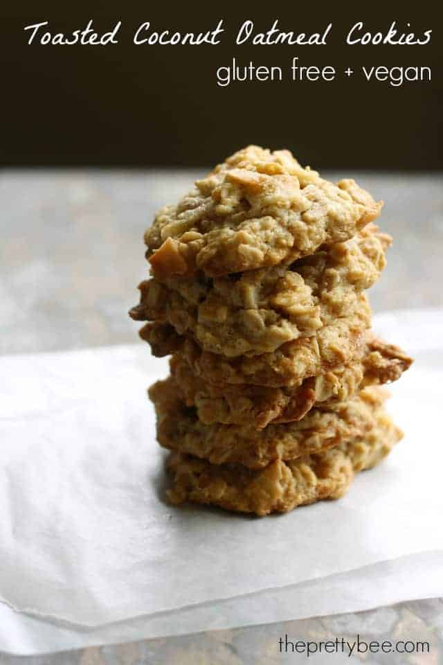 Chewy Toasted Coconut Oatmeal Cookies. - The Pretty Bee