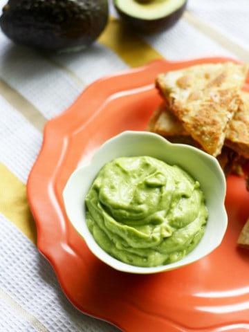 A creamy and delicious healthy avocado dip. Dairy free recipe.