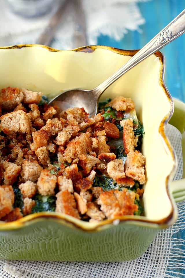 creamed spinach with breadcrumbs