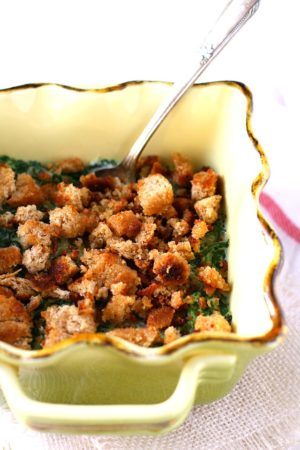 dairy free creamed spinach gratin with breadcrumbs