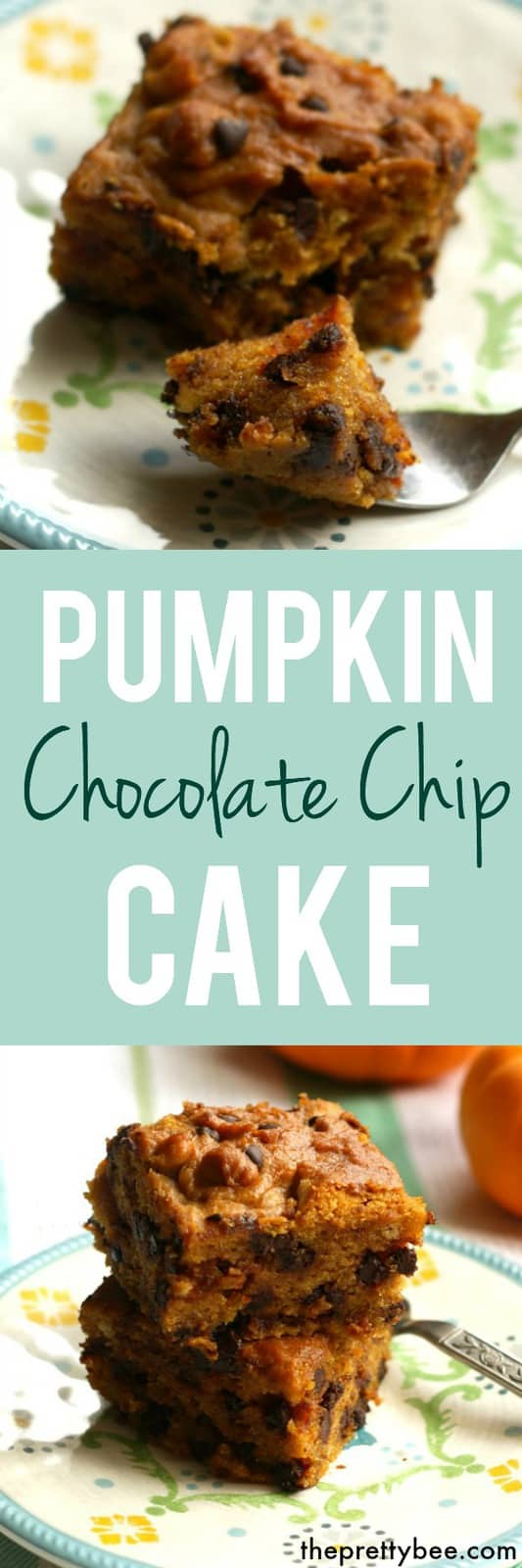 Delicious, moist chocolate chip pumpkin cake. A fall recipe that will be a real crowd pleaser! #pumpkin #glutenfree #vegan #dairyfree