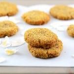 Crispy Chewy Grain Free Coconut Cookies.