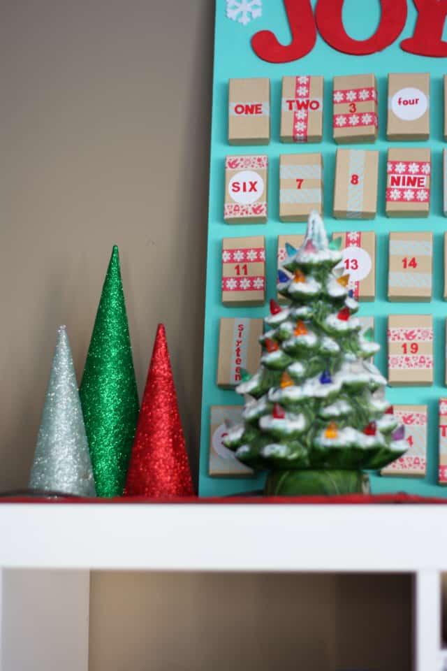 aqua and red handmade advent calendar