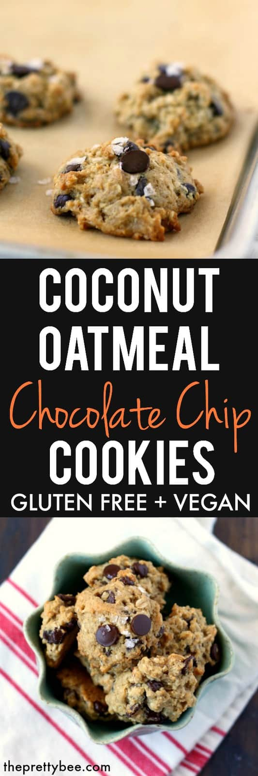 Chewy, chocolatey, filled with oats and dusted with sea salt, these cookies are the best!  #glutenfree #dairyfree #vegan #coconut