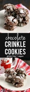 These gluten free and vegan chocolate crinkle cookies absolutely melt in your mouth! A perfect cookie for the holiday season!