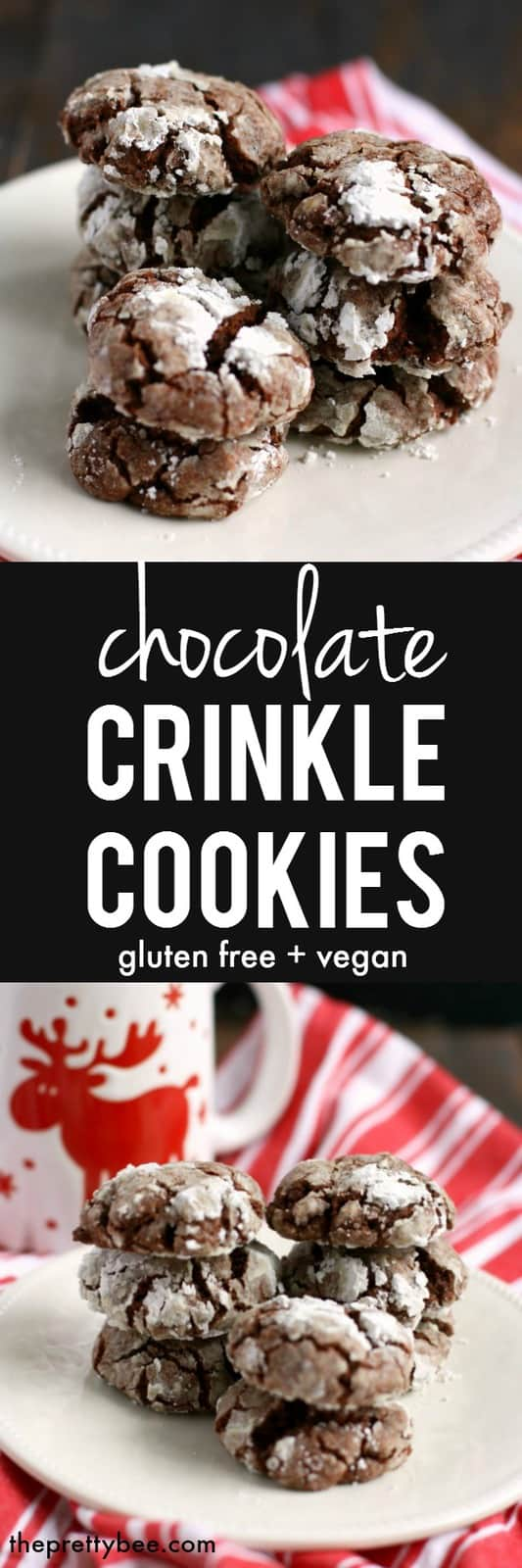 These gluten free and vegan chocolate crinkle cookies absolutely melt in your mouth! A perfect cookie for the holiday season! #glutenfree #vegan #dairyfree #nutfree