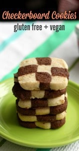 Make a fancy and delicious batch of checkerboard cookies this holiday season. Gluten free and vegan.