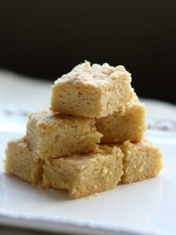 This gluten free and vegan Scotch shortbread recipe is so easy to make and SO delicious! Buttery, rich, wonderful shortbread squares are perfect for the holidays!