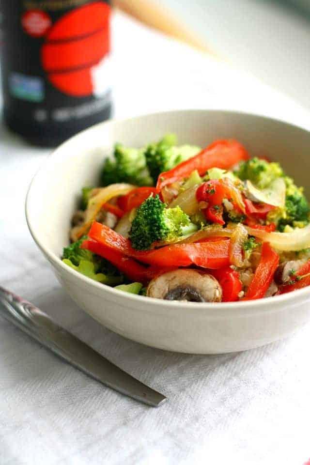 A sweet and spicy vegetarian stir fry recipe. Easy week night meal that everyone loves!