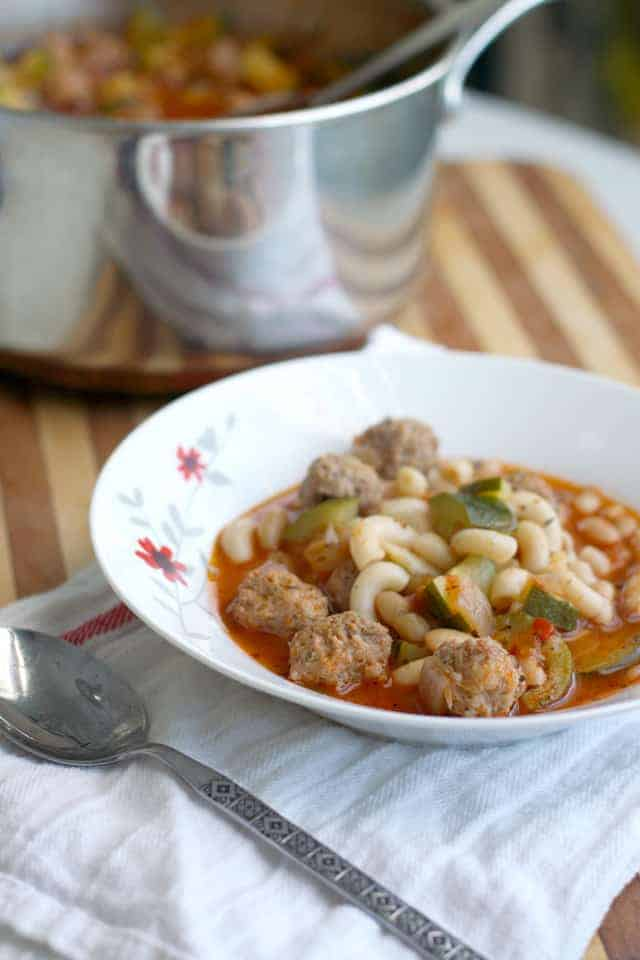 Italian meatball soup - gluten free and dairy free.