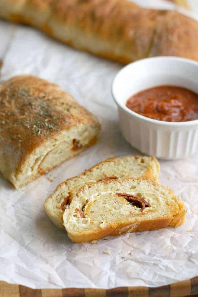 Make a quick and tasty dinner - pepperoni bread and marinara sauce!