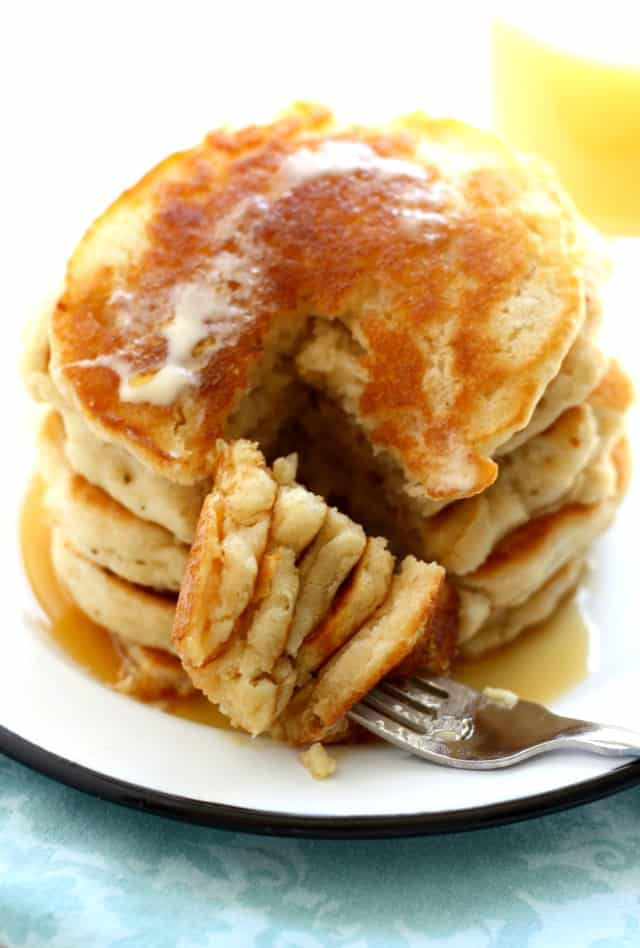 stack of fluffy vegan pancakes