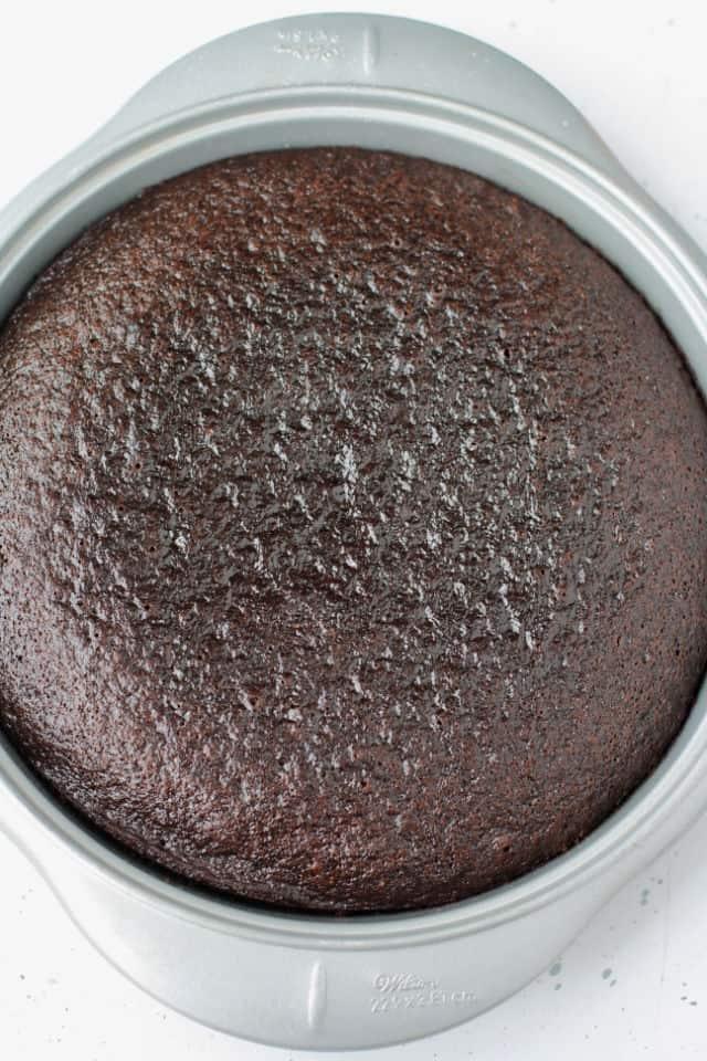 german chocolate cake in a round cake pan