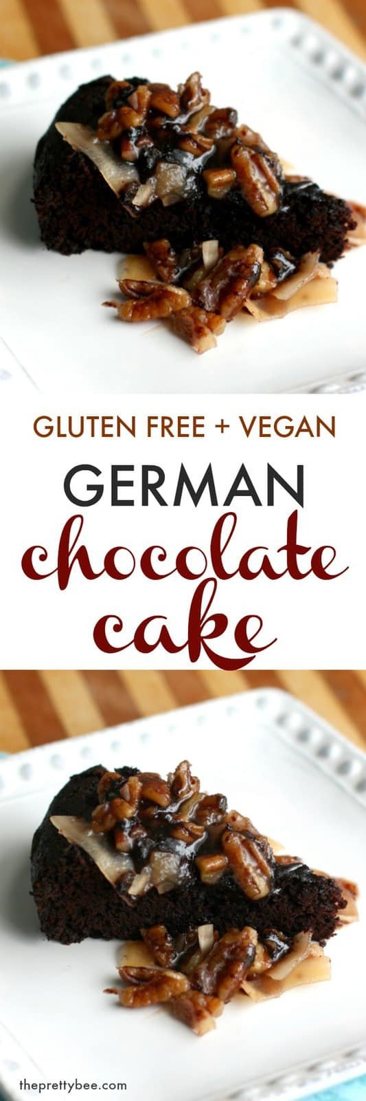 Decadent German chocolate cake that's vegan and gluten free! Such a delicious dessert for a special occasion!