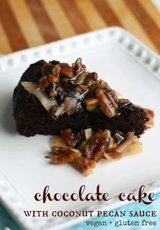 german chocolate cake with coconut pecan frosting on a white plate