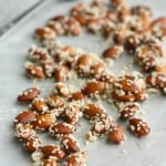 A simple snack - sweet sesame almonds.