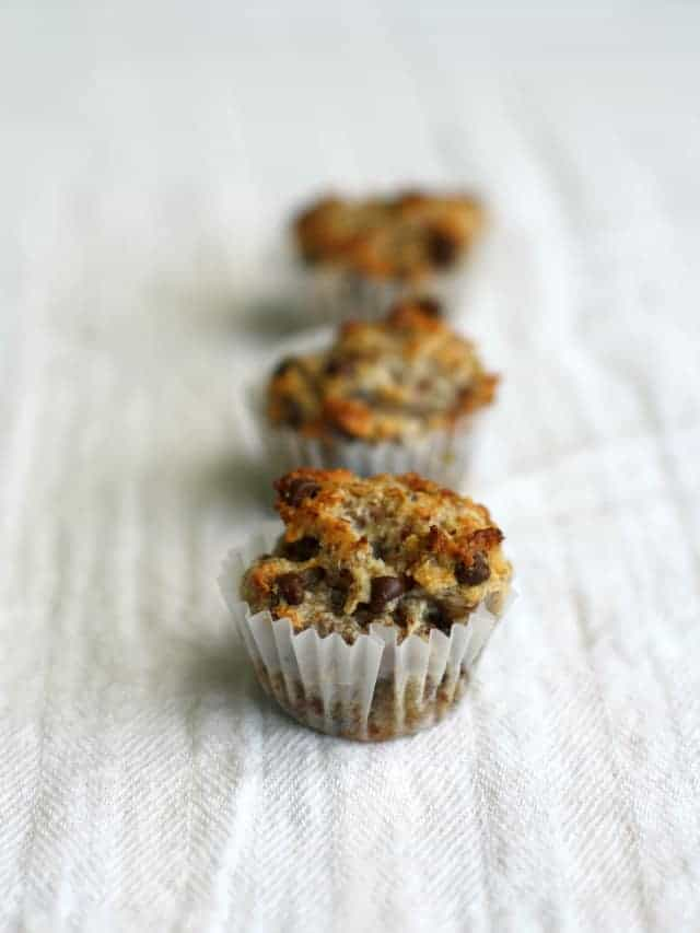 Grain free and vegan chocolate chip banana muffins...only five ingredients!