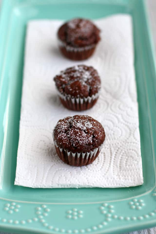 Rich chocolate vegan muffins.