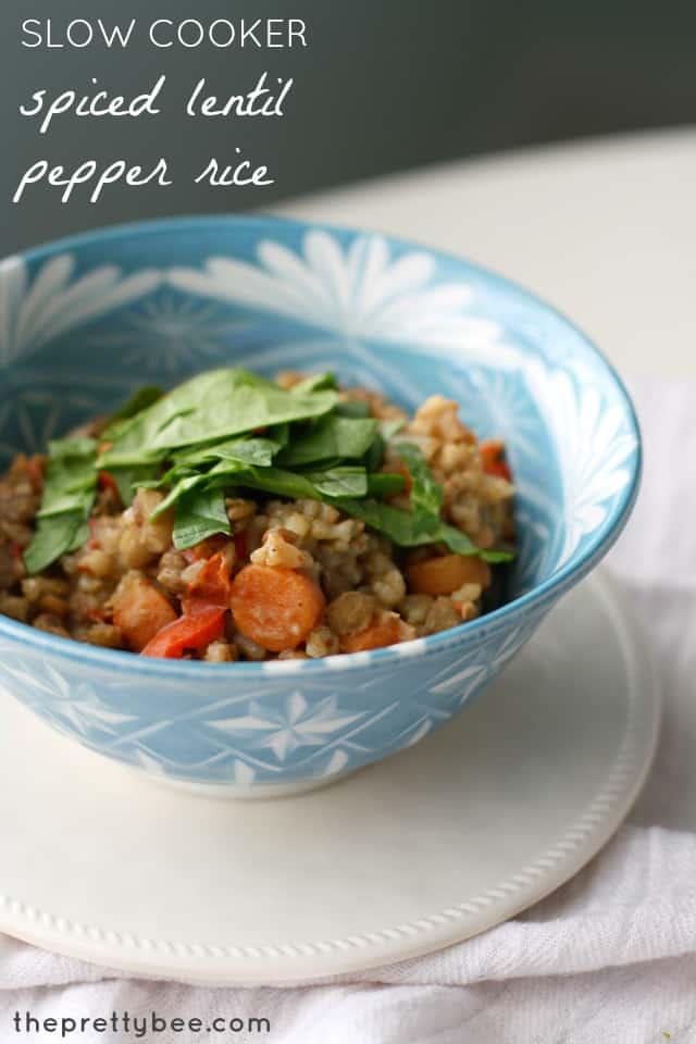 Slow cooker spiced lentil pepper rice