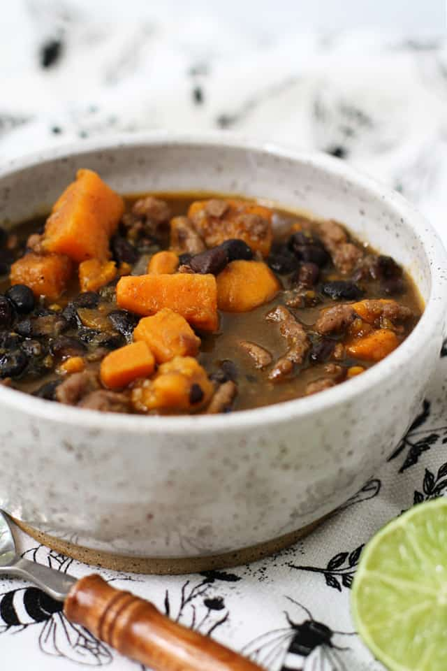 black bean chili in a white bowl