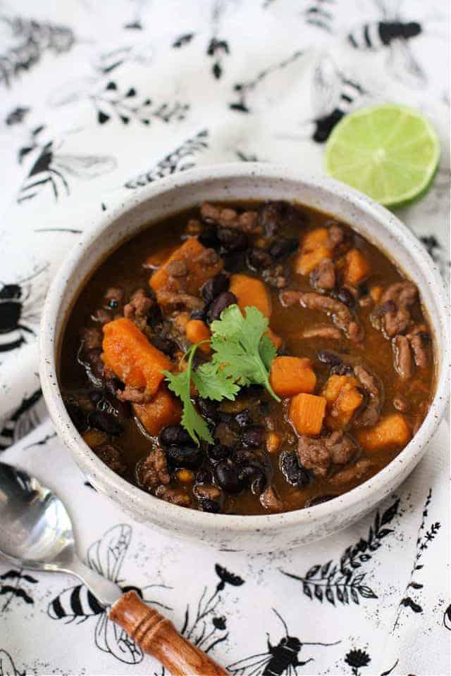 black bean sweet potato turkey chili in a white bowl