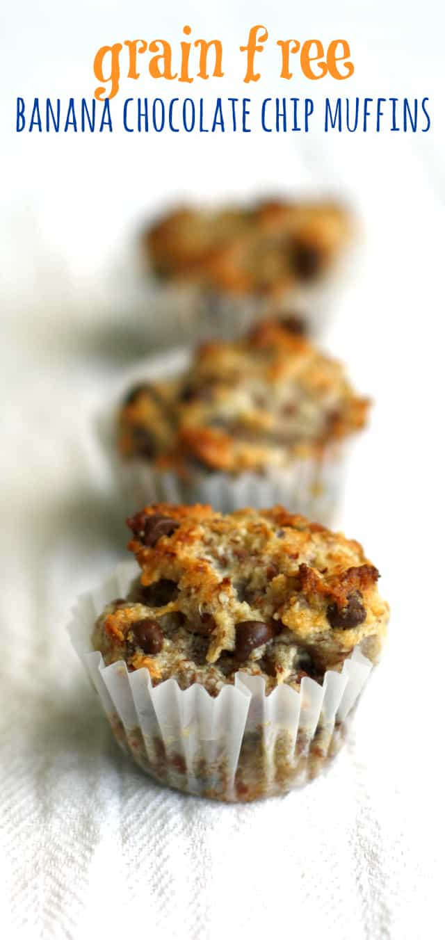 Grain free banana chocolate chip mini muffins - easy and tasty! #grainfree