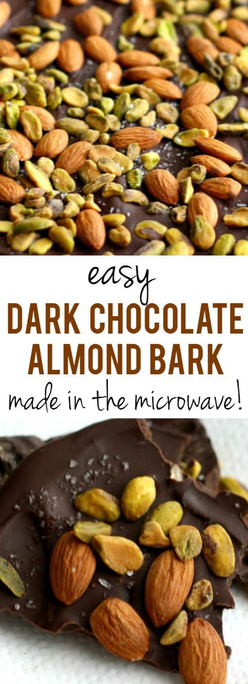 This decadent salted dark chocolate bark with almonds and pistachios requires just four ingredients and a minute in the microwave! An easy dessert recipe.
