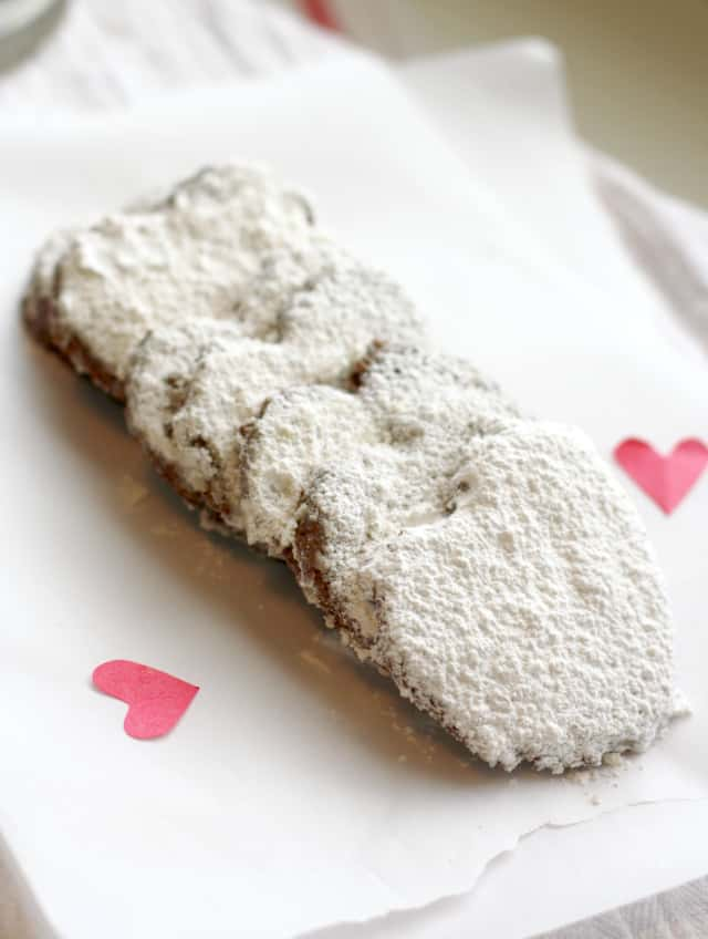 chocolate almond meal valentine heart cookies