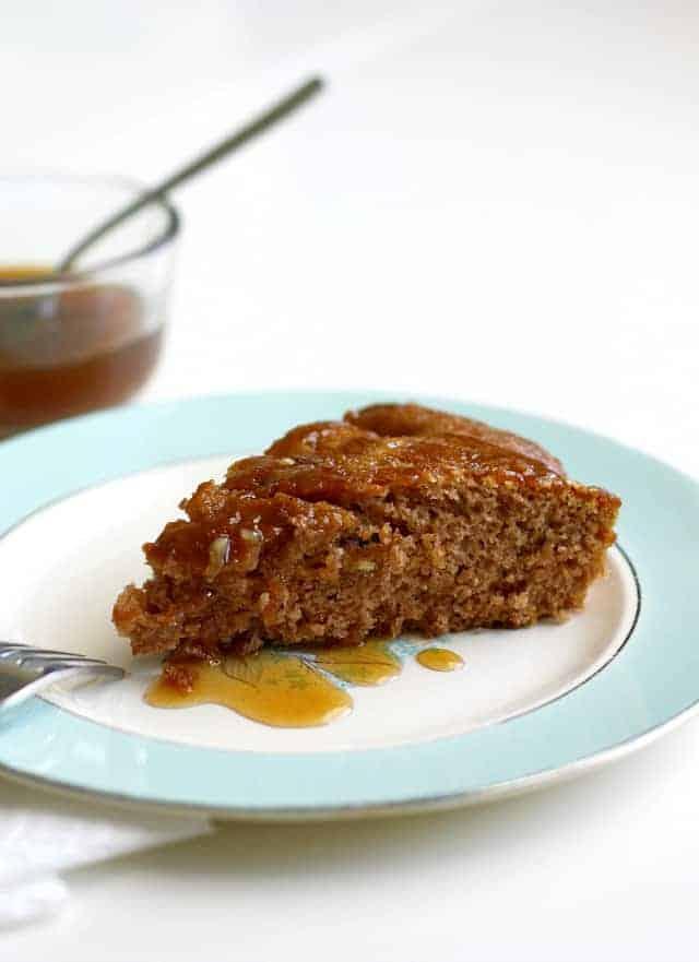 vegan spiced apple cake with caramel sauce