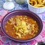 Fiesta chicken chili is loaded with veggies, beans, and chicken! Dairy free and gluten free and so tasty!