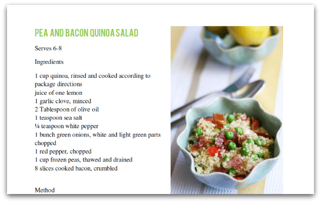 Pea and bacon quinoa salad