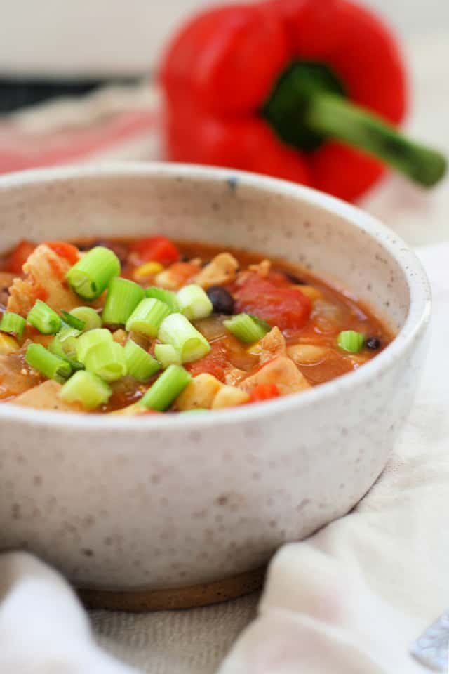 bowl of chicken chili with green onions on top