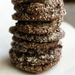 Make these marvelously chewy, chocolatey coconut cookies today! Fine shredded coconut on the outside adds great texture, and looks pretty, too! #cookies