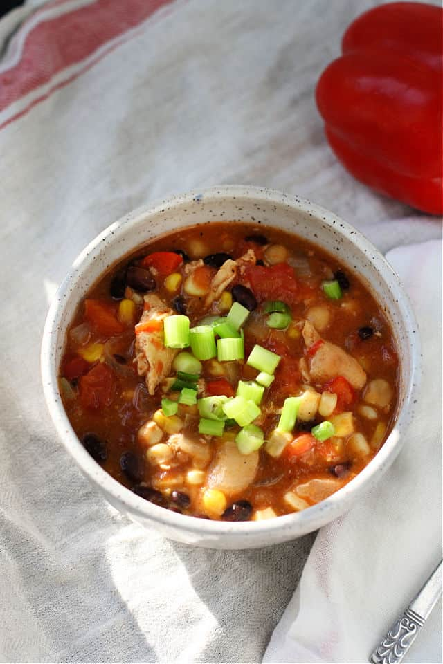 chicken chili in a white bowl