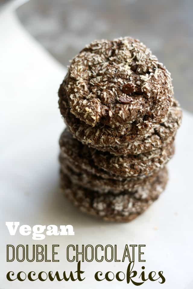 Chewy and delicious vegan double chocolate coconut cookies.