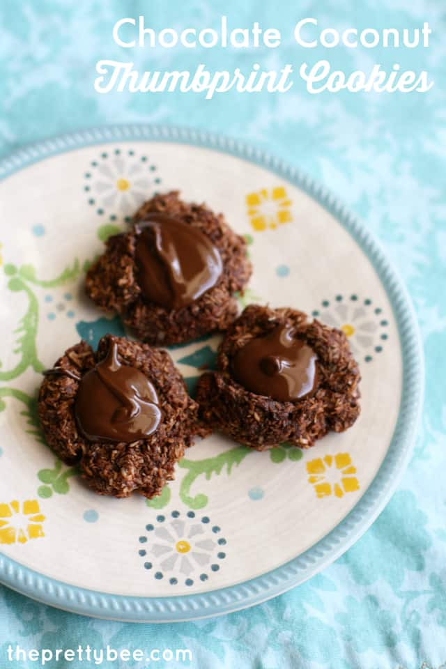 Chocolate coconut thumbprint cookies are so easy to make and a rich, chocolatey treat!