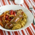 Curry spiced quinoa with sausages and peppers.